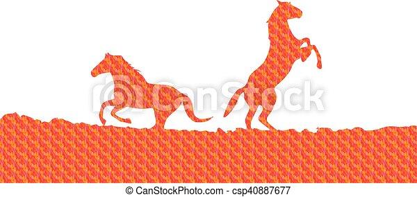 horses, silhouette - csp40887677