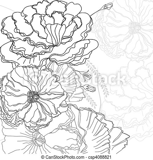 Sketch with flowers - csp4088821