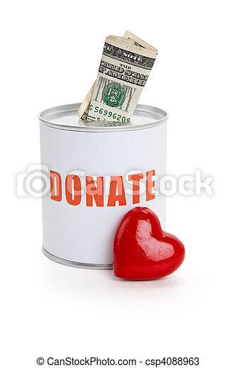 Donation Box and Red Heart - csp4088963