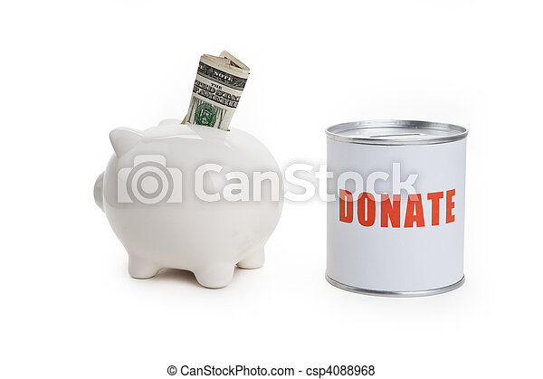Donation Box and Piggy bank - csp4088968