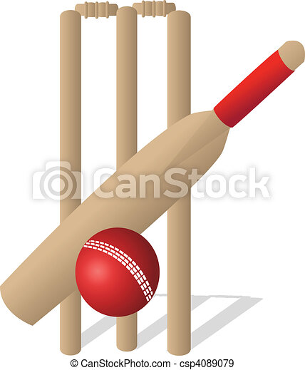 EPS Vectors of Cricket Set - a cricket ball and bat and wickets ...