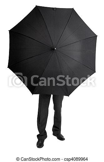 人,  hid, の後ろ, 大きい, 黒, 傘 - csp4089964