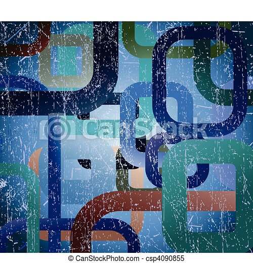 Abstract grunge square on blue background - csp4090855
