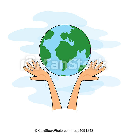 World Cartoon Drawing Hands Holding The World