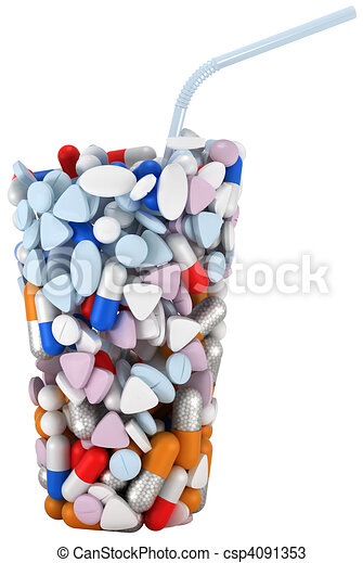 Glass shape assembled of drugs and pills - csp4091353