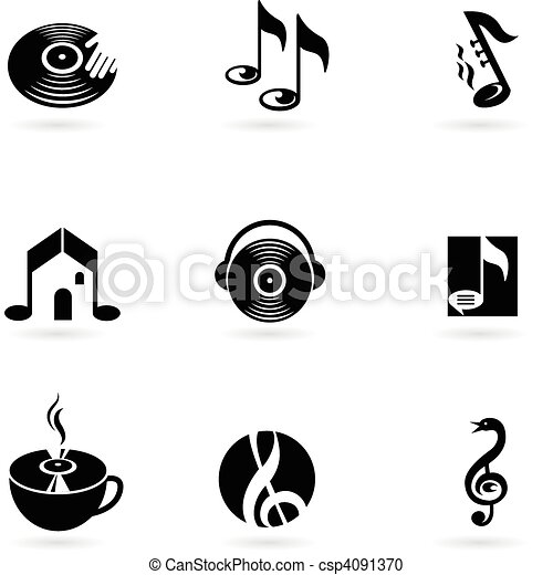 Simple music icons and logos - csp4091370