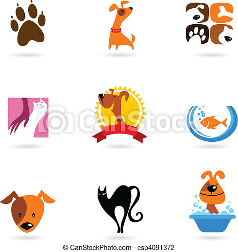 Pet icons and logos - csp4091372