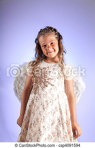 Cute little girl with pigtail hairstyle and angel wings - csp4091594