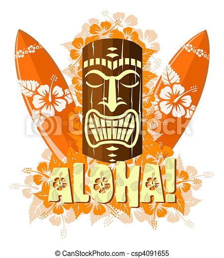 Vector illustration of orange tiki - csp4091655