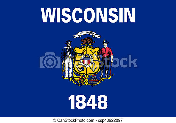 Flag of Wisconsin correct size color illustration - csp40922897