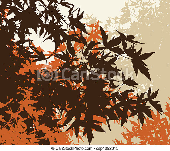 Colored landscape of automn brown foliage - Vector illustrationThe different graphics are on separate layers so they can easily be moved or edited individually - csp4092815