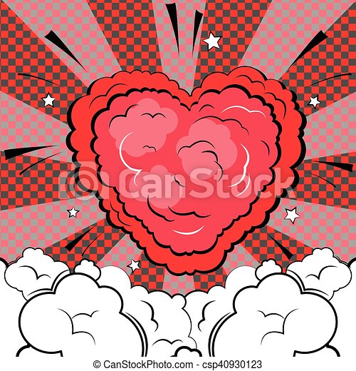 Explosion in form of heart in comic book style. - csp40930123