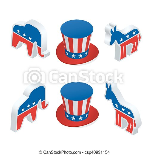 Clipart Vector of Isometric democrat donkey and the republican ...