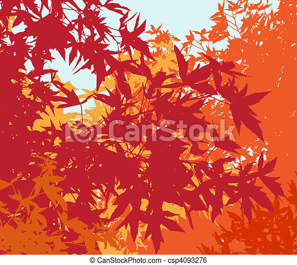 Colorful landscape of automn foliage - Vector illustrationThe different graphics are on separate layers so they can easily be moved or edited individually - csp4093276