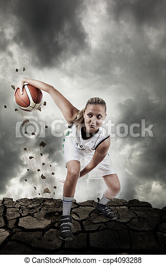 Basketball player running on grungy surface - csp4093288