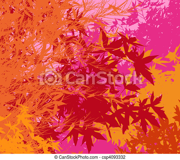 Colorful landscape of foliage - Vector pop illustrationThe different graphics are on separate layers so they can easily be moved or edited individually - csp4093332
