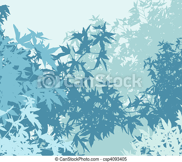 Colorful landscape of foliage in cold mist - Vector illustrationThe different graphics are on separate layers so they can easily be moved or edited individually - csp4093405