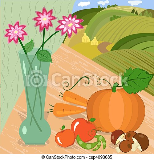 harvest of vegetables in an outdoor - csp4093685