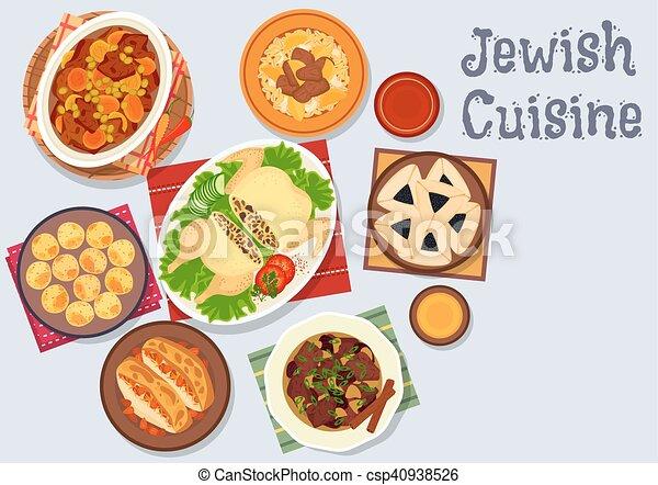 vektor illustration von küche, jüdisch, menükarte, koscher ... - Koschere Küche