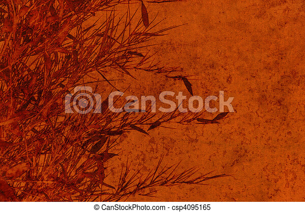 Textured brown backdrop with bamboos foliage - scrapbooking - csp4095165
