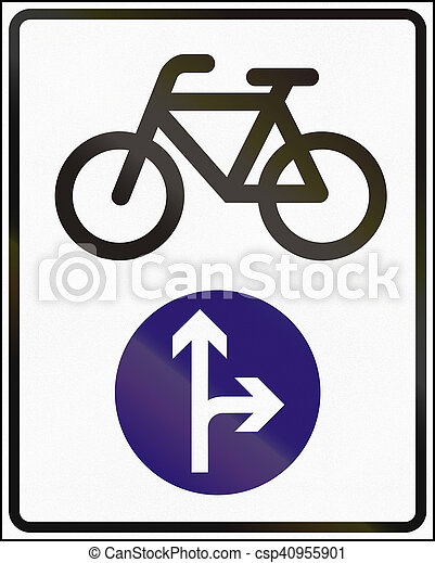 Road sign used in Hungary - Cyclists go straight or right ahead - csp40955901