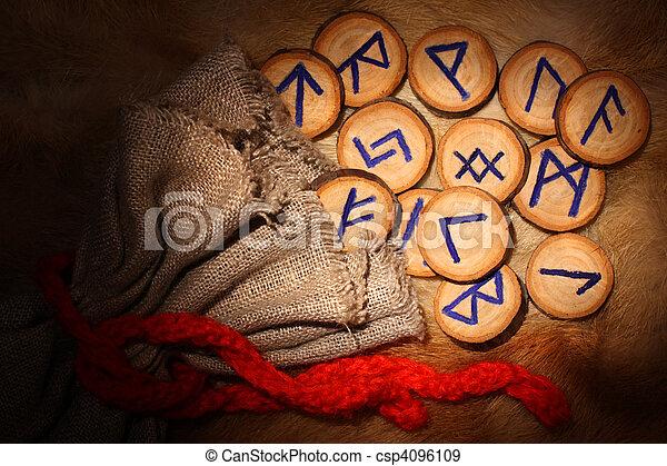 Handmade rune set with pouch in the dark