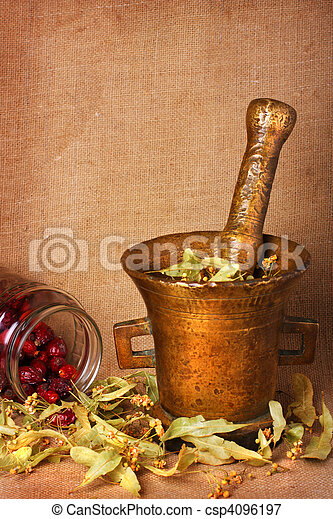 Old bronze mortar with herbs and rose hips - csp4096197