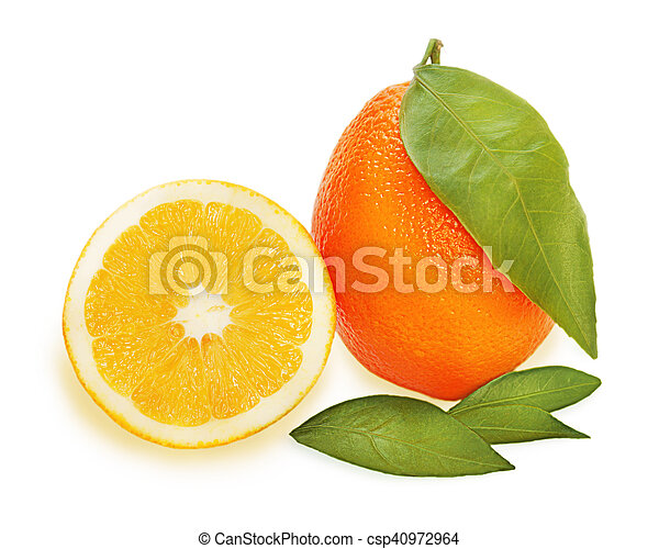 fresh ripe orange fruits with cut and green leaves isolated - csp40972964