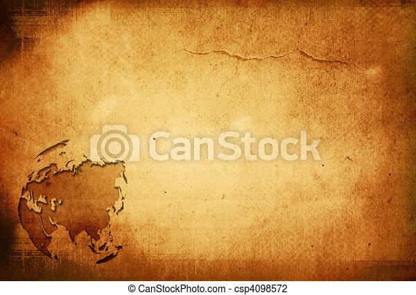 aged asia map-vintage artwork - csp4098572