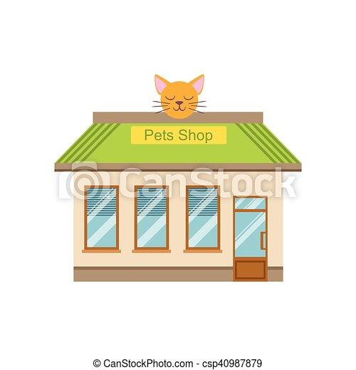 Vectors Illustration of Pet Shop Commercial Building Facade Design ...