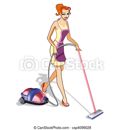 Woman with vacuum cleaner - csp4099028