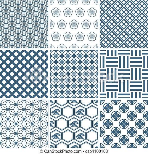 traditionell, mönster, sätta, japansk - csp4100103