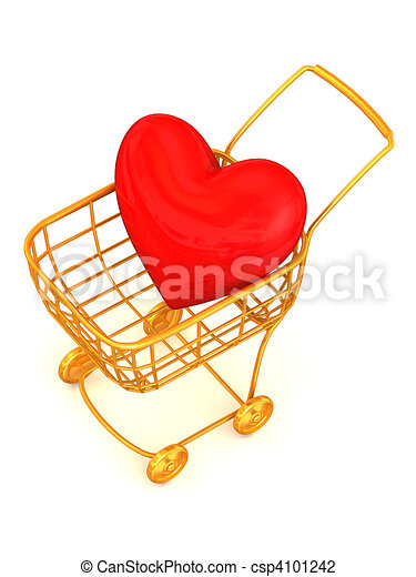 Consumer's basket with Heart - csp4101242