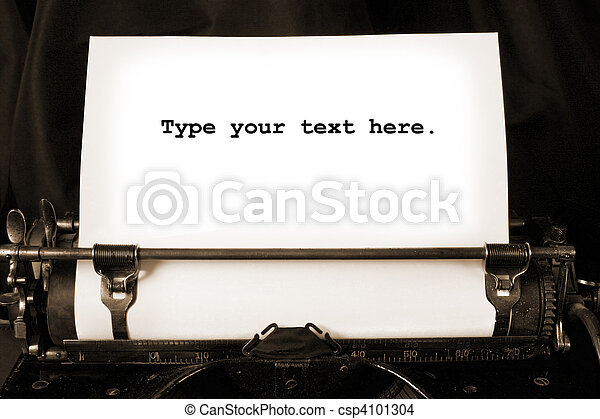 Old type writer with a blank sheet  - csp4101304