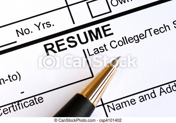 Close up view of the resume section - csp4101402