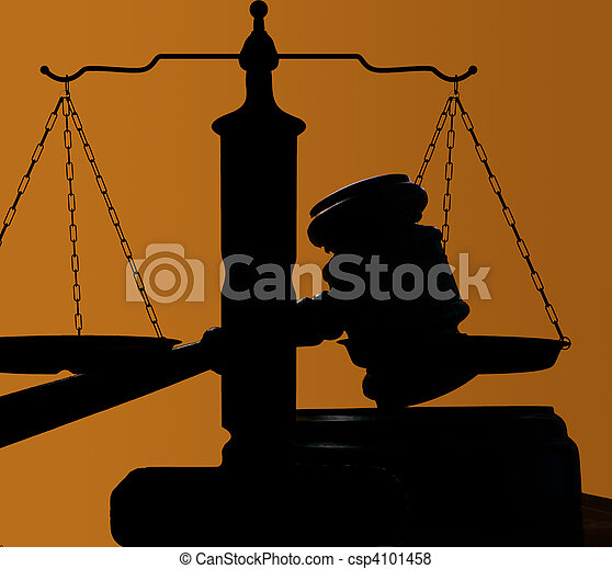 judges court gavel silhouette on blue background - csp4101458