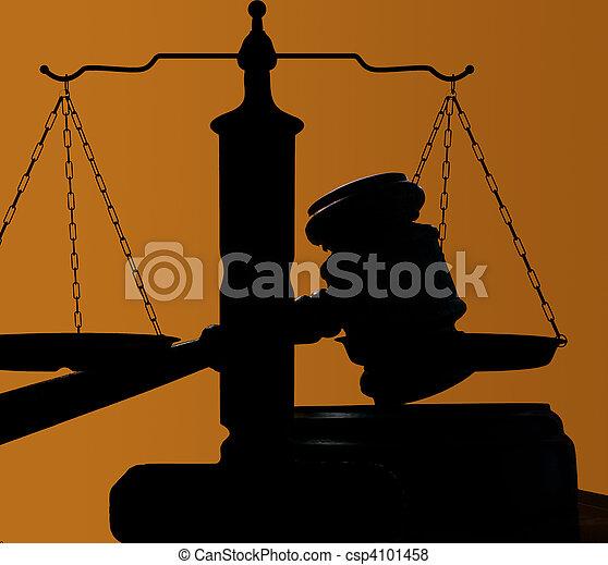 judges court gavel silhouette on blue background - csp4101458