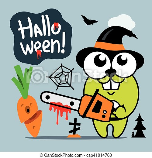 Clip Art Vector of Vector Halloween Crazy Rabbit in witch hat ...