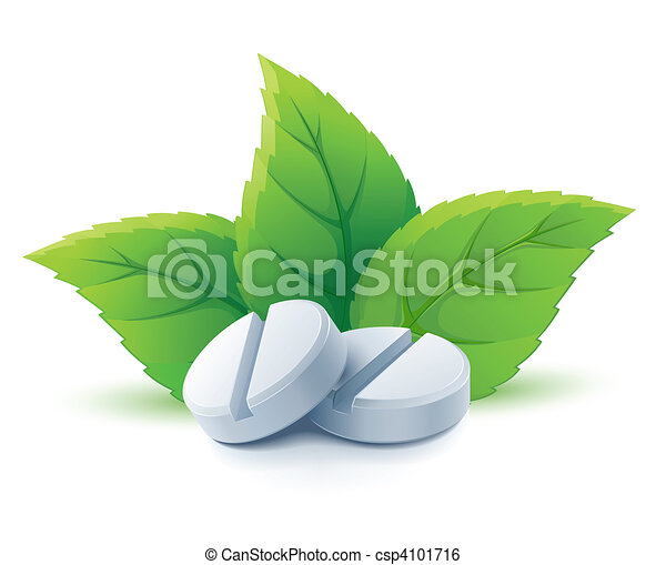 natural medical pills with green leaves - csp4101716