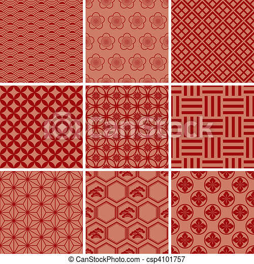 Japanese Traditional red pattern - csp4101757