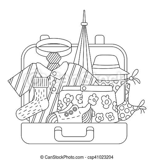 Clipart vecteur de style contour ic nes ensemble - Dessin de valise ...