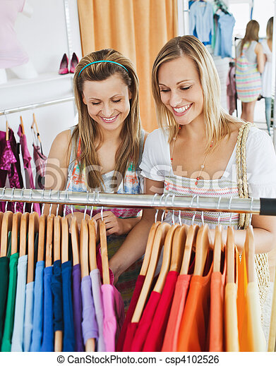 Animated female friends doing shopping - csp4102526
