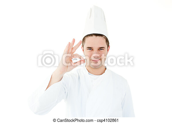 Handsome cook giving hand signal  - csp4102861