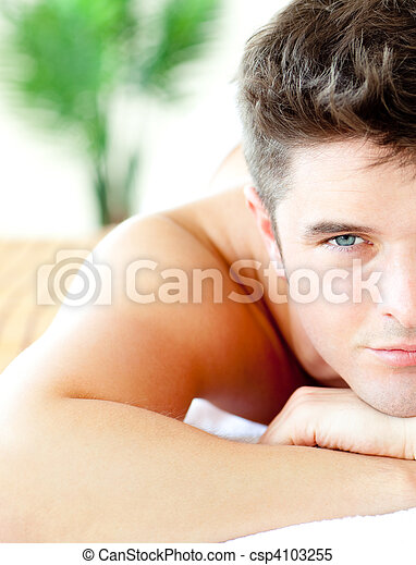 Close-up of an attractive man in a spa center  - csp4103255