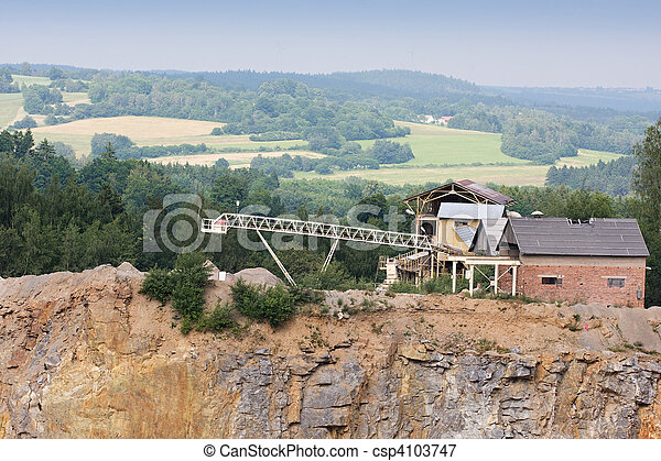 Granite quarry mining in the background industrial building - csp4103747