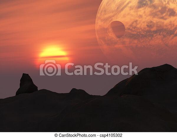 Terra Sunset Fantasy Planet - csp4105302