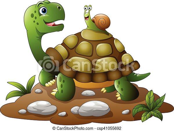 Vecteurs eps de tortue rigolote dessin anim escargot - Image tortue rigolote ...