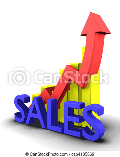 Statistics graphic with sales word  - csp4105669