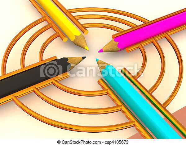 Target from pencils. CMYK. 3d - csp4105673