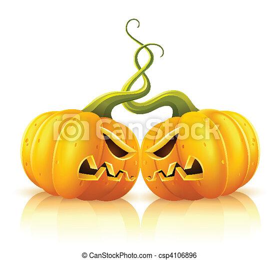 two aggressive halloween pumpkins in skirmish - csp4106896